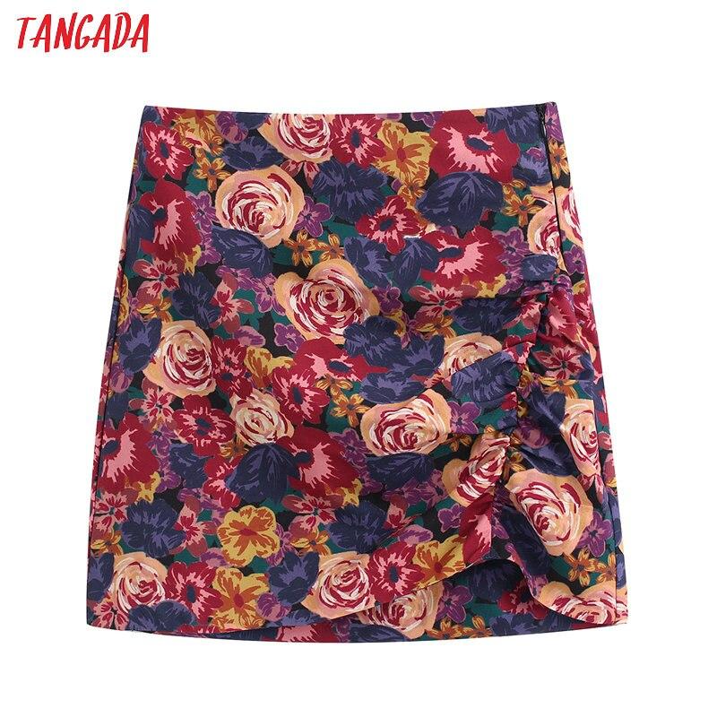 Tangada Women Rose Print Pleated Mini Skirts Faldas Mujer Zipper Female Sexy Short Skirt Ladies BE188