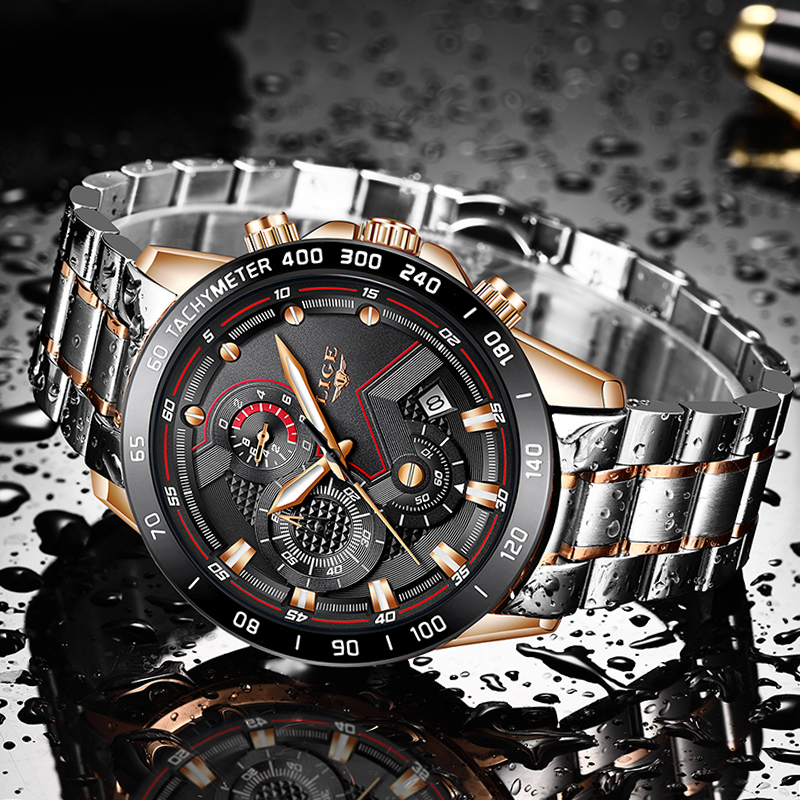 LIGE 2020 New Business Mens Watches Top Brand Luxury Stainless Steel Waterproof Sports Chronograph Quartz Watch Men Reloj Hombre