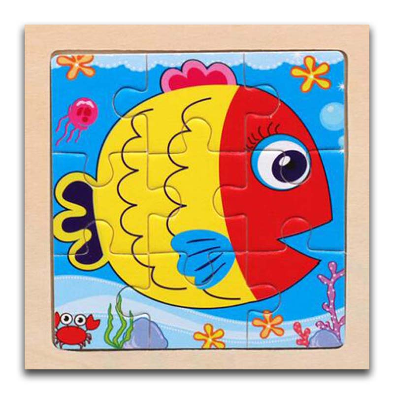 3D Paper Kids Children's Baby Early Childhood Educational Toys Cartoon Fish Wooden Small 9-Piece Jigsaw Puzzle 1-3-Year-Old
