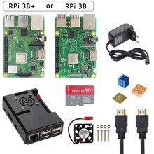 Raspberry Pi 3 Model B + Plus zestaw startowy + etui z ABS + karta SD 32 GB + zasilacz 3A + wentylator chłodzący + radiator + kabel HDMI