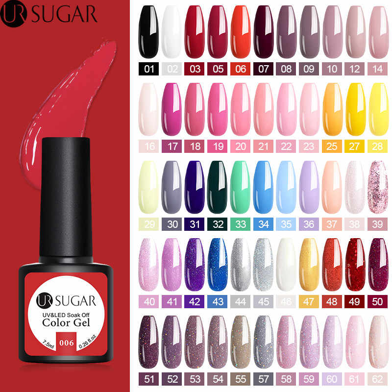 Azúcar ur 7,5 ml Color Gel polaco Semi permanente 62 colores Gel laca remoja de UV LED Gel esmalte de uñas No limpiar el barniz de la capa superior