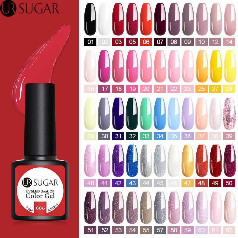 Azúcar ur Color 7,5 ml Gel polaco Semi permanente 62 colores Gel laca empapa Gel LED UV esmalte de uñas No limpiar superior barniz