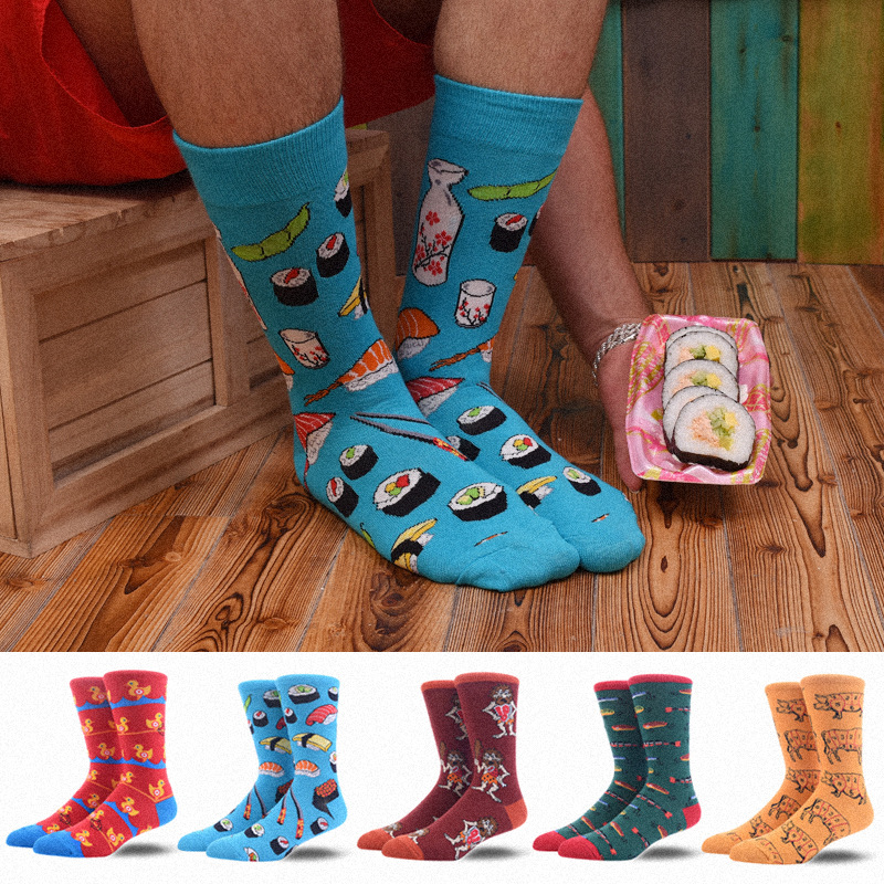 1Pair Male Crew Socks Men Casual Socks Cotton Fashion Cartoon Funny Cute Male Socks Mid Length Stockings Fish Sushi Dog Puppy
