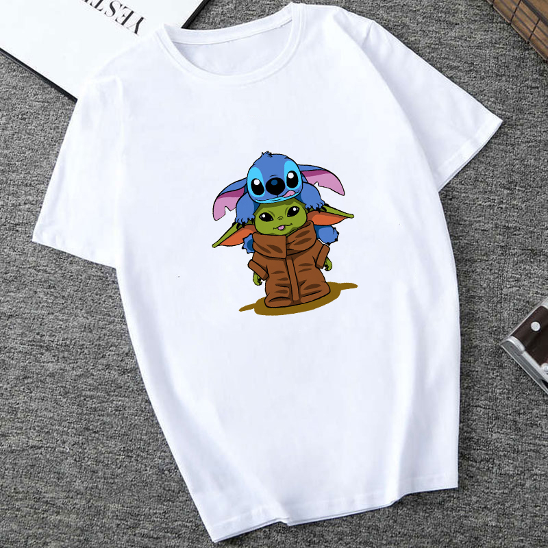 Showtly 2019 STAR WARS Lilo & Stitch  Men/Women New Funny Tiny Yoda Printed T-shirt Lady Fantastic Mandalorian Design Tops