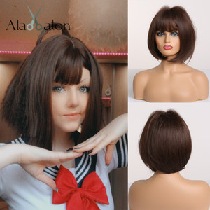 ALAN EATON Short Straight Dark Brown Synthetic Wigs with Bangs for Women Bob Wig Heat Resistant Bobo Hairstyle Cosplay wigs(China)