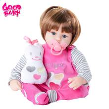 45cm Cotton Body Reborn Sleeping Baby Doll Kids Playmate Gift for Girls Non-Toxic Vinyl Baby Alive Soft Toys for Bouquets Doll 22 inch baby reborn doll toys full body soft silicone vinyl non toxic safe realistic bebe newborn doll toys best gift for girls