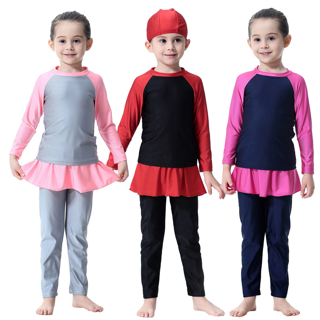 Tracksuit Outfit Swimwear Bathing Long-Sleeve Baby-Girls Kids 3PCS for Swimming-Suit
