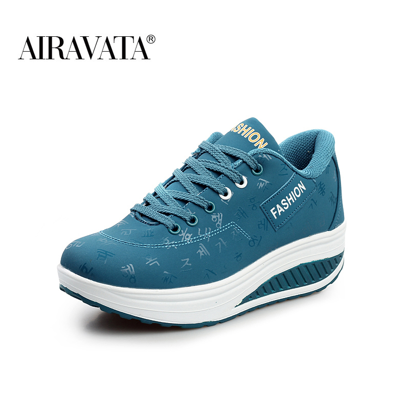 Blue-Women Platform Running Shake Shoes Thick Bottom Wedges Sneakers