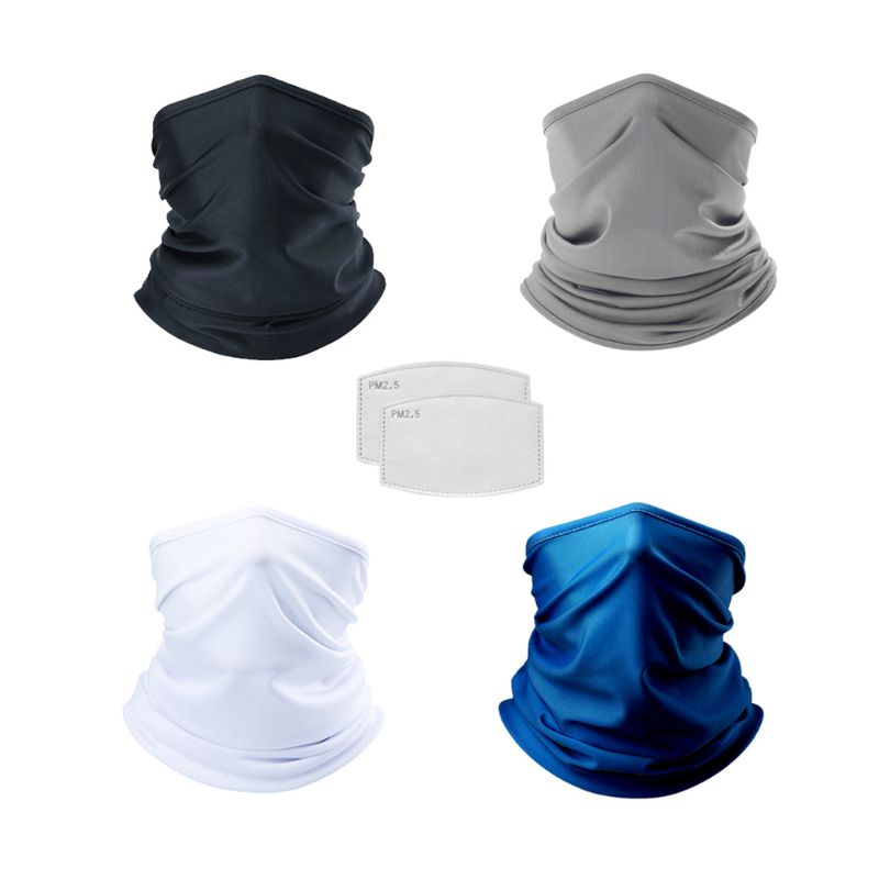 Unisex Neck Gaiter Face Cover with 5Pcs PM2.5 Carbon Filters Solid Color Sunscreen Dustproof Cycling Sport Bandana Scarf
