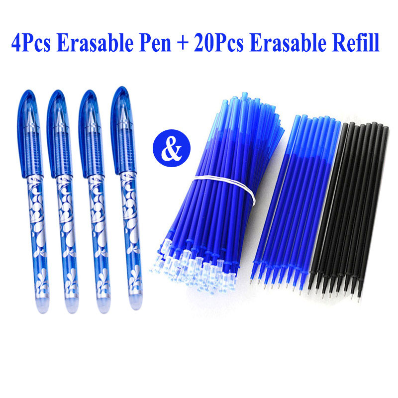 4+20Pcs/Set Erasable Gel Pen 0.5mm Erasable Pen Refill Rod Blue Black Ink Washable Handle For School Stationery Office Writing