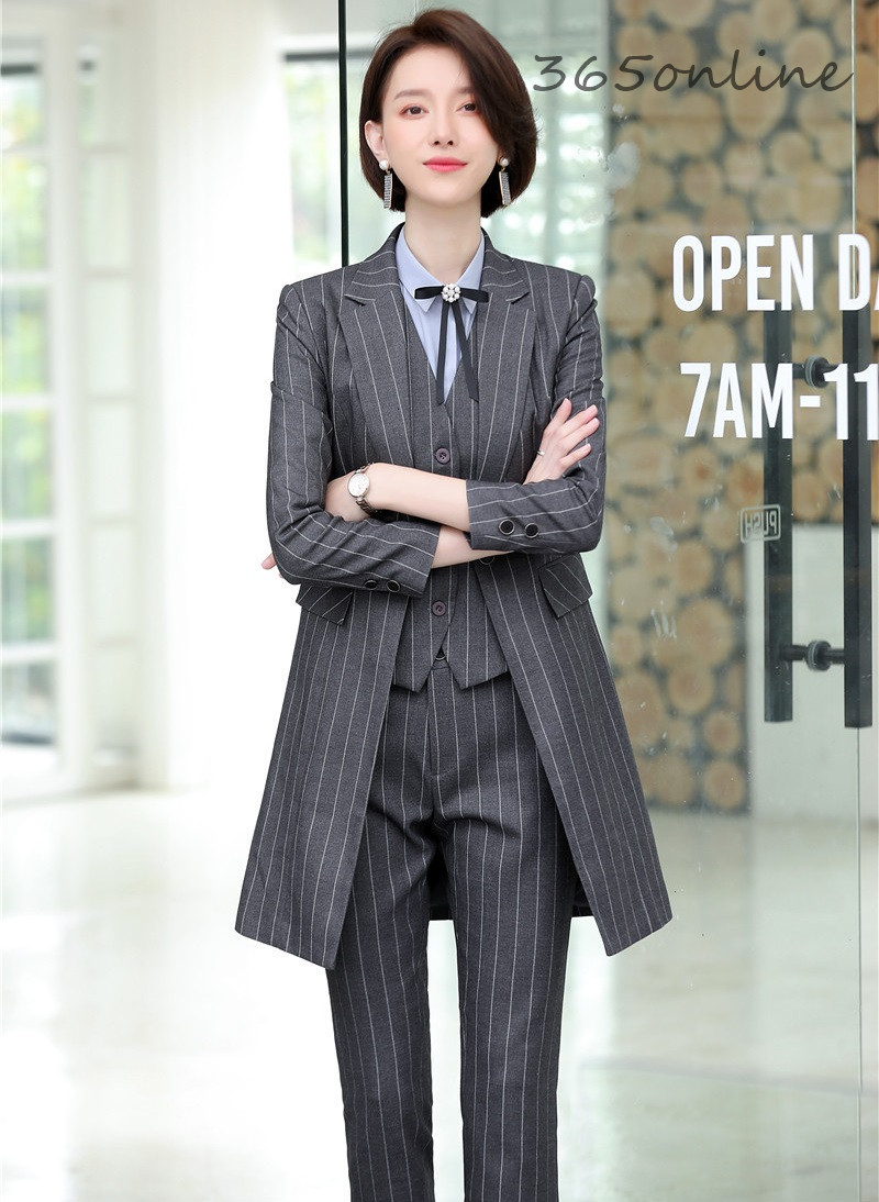 High Quality Fabric 2019 Autumn Winter Business Women Suits Uniform Designs Ladies Office Work Wear Set With Long Windbreaker