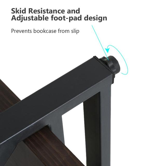 5-tier Industrial Style X Shaped Bookcase 5