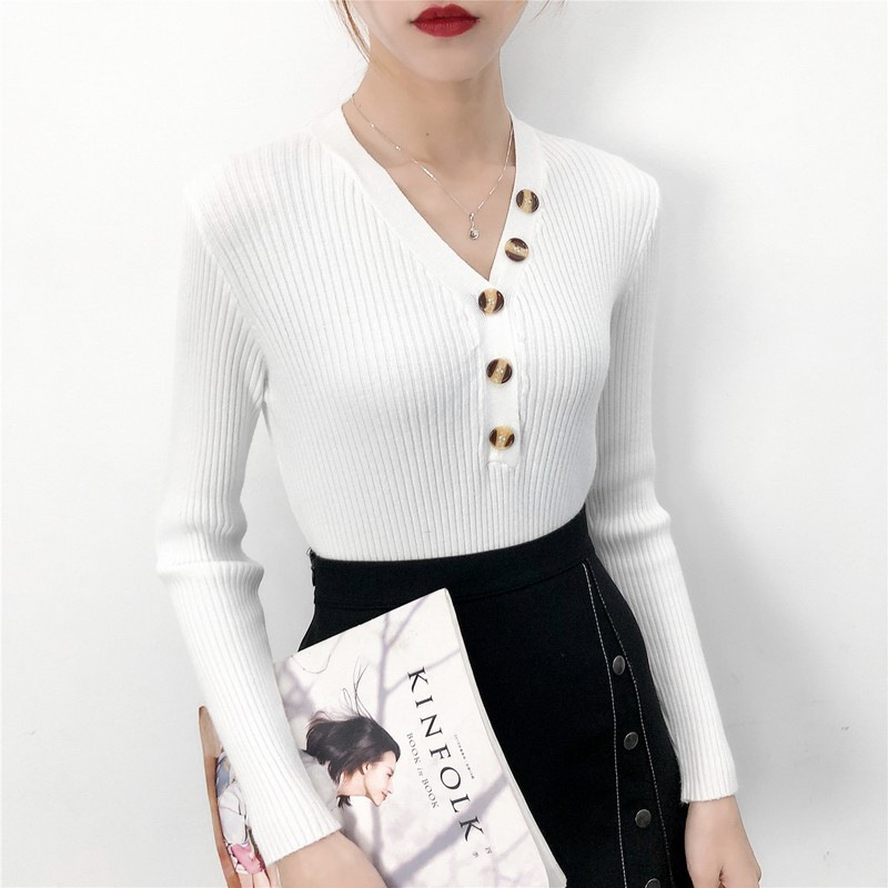 Sweater New Fashion Button V-neck Sweater Spring Autumn Solid Knitted Pullover Women Slim Soft Jumper Sweater Female Knit Tops19