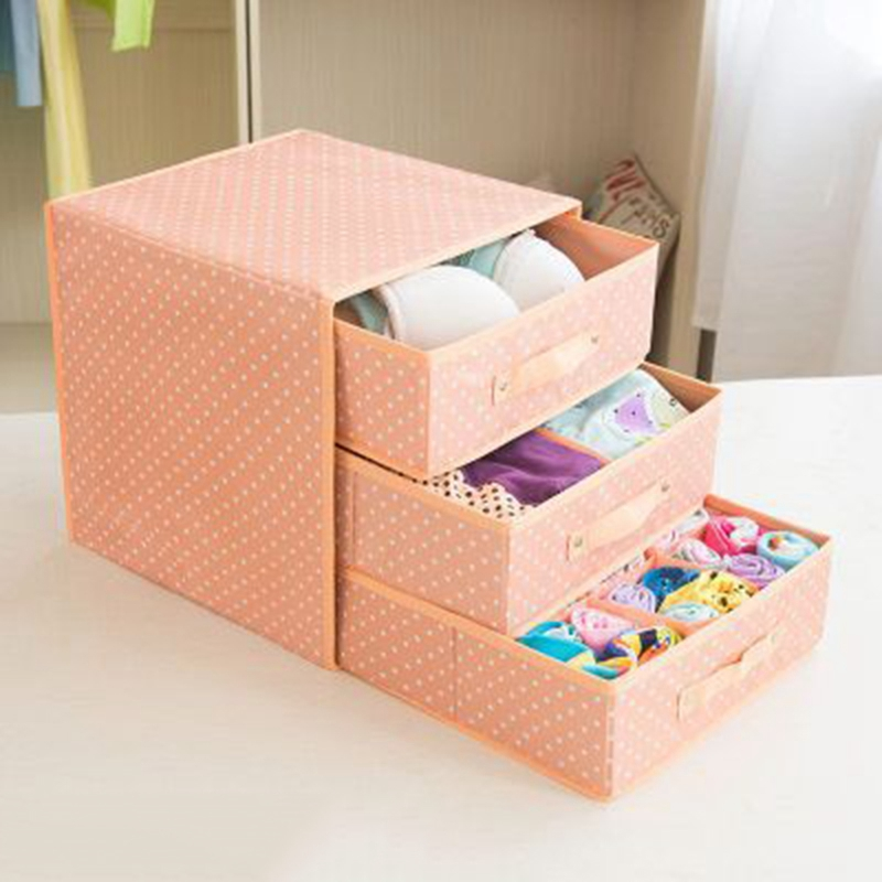 Foldable Divider Storage Bra Drawers Non Woven Fabric Folding Cases Necktie Socks Underwear Clothing Organizer Container Boxes|Drawer Organizers| |  - title=