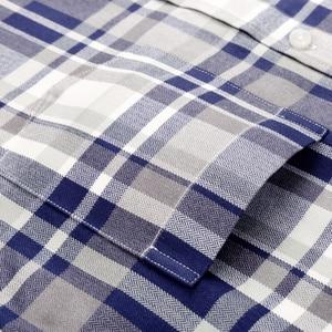 Image 3 - Mannen Plaid Geruite Lange Mouwen Jurk Shirts Enkele Patch Zak Comfortabele Bamboevezel Standaard Fit Casual Boerenbont Shirt