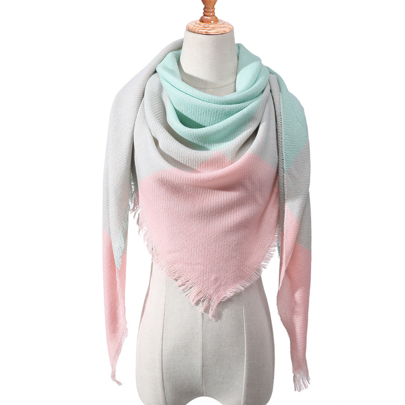 Patchwork Contract Color Women Autumn Winter Scarf 2019 Simple Design Triangular Streetwear Casual Neck Scarves Shawls For Lady