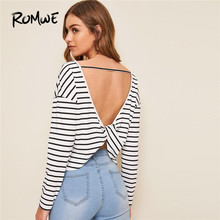 ROMWE Cut Out Back Twist Back Striped Tshirt Women Autumn Sexy Backless Round Neck Long Sleeve Top 2019 White Ladies Tops cut out bow back dip hem top