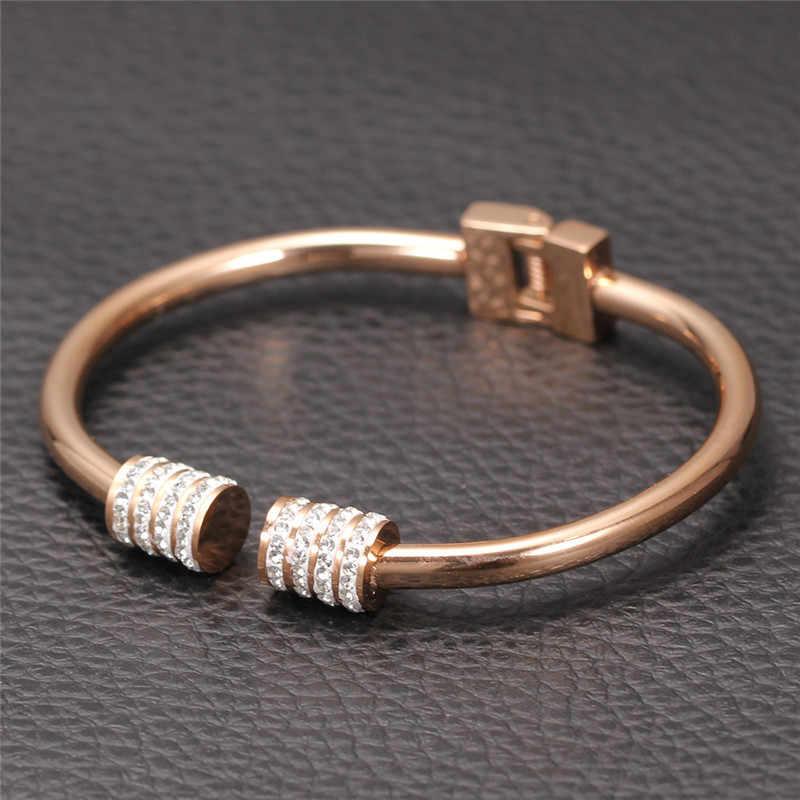 Moduł luksusowe Rose kryształ w złotym kolorze bransoletki dla kobiet bransoletka mankiet biżuteria bransoletki wysokiej jakości bransoletka Pulseiras