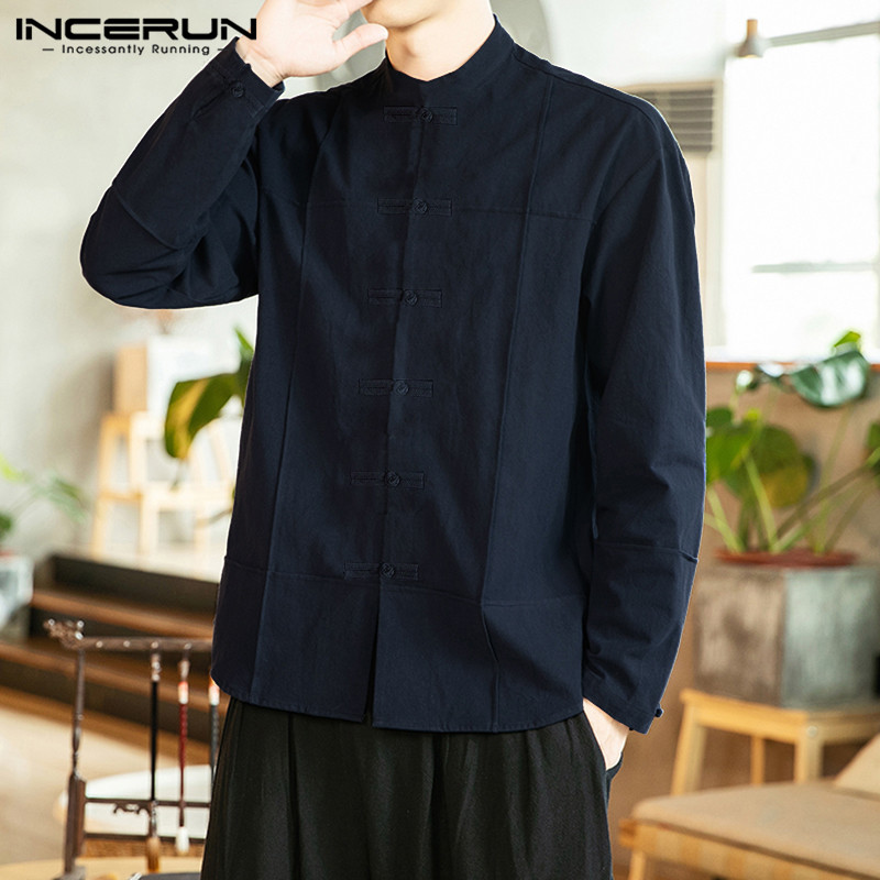 INCERUN Traditional Harajuku Men Solid Long Sleeve Collar Shirt Fashion Joker Buckle Retro Streetwear Casual Cotton Mens Blouse