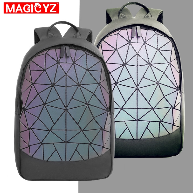 2019 New Large Capacity Rucksack Women Travel Bag Luminous Laser Daypack PVC Leather Backpacks Female Glowing Backpack