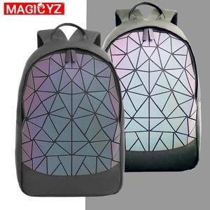 Image 1 - 2020 새로운 대용량 배낭 여성 여행 가방 빛나는 레이저 데이 팟 PVC 가죽 배낭 여성 빛나는 배낭