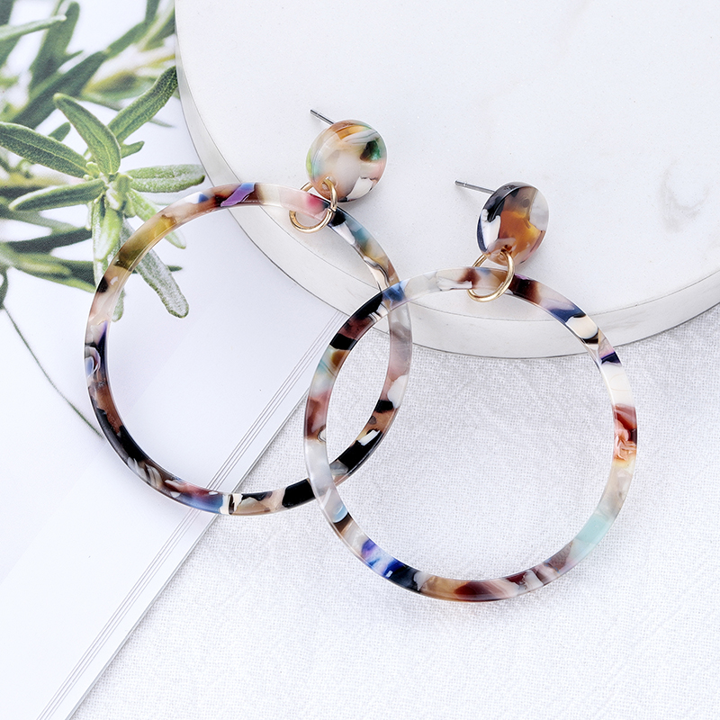 New Acrylic Resin Long Big Circle Earrings For Women Bohemian Colored Leopard Drop Earrings Vintage Fashion Jewelry Accessories