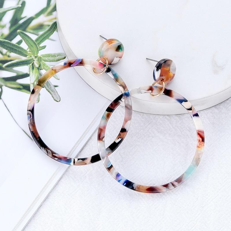 Новые длинные большие круглые серьги из акриловой смолы для женщин, богемные цветные леопардовые висячие серьги, винтажная бижутерия, аксе...