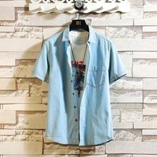 Męskie niebieskie jeansowe koszule nowe letnie cienka z krótkim rękawem Jean koszule dobrej jakości męskie bawełniane koszule na co dzień kowbojskie koszule tanie tanio wetailor COTTON Poliester Skręcić w dół kołnierz Pojedyncze piersi REGULAR 20033102T Suknem Patchwork