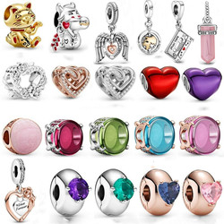 2021 New 925 Sterling Silver Lucky Cat Charm Heart Beads fit Original Silver Bracelet Pendant DIY Woman Lover Gift Making