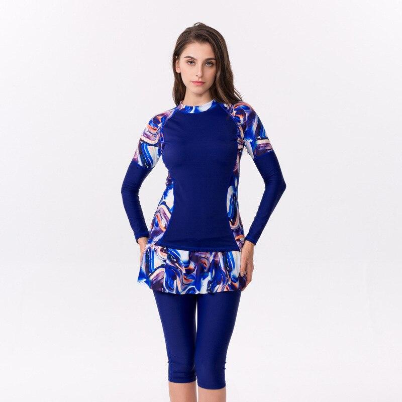 Plus Size Muslim Swimwear Islamic Women Beach Long Sleeve 2pcs Full Cover Modest Swim Sports Wear Burkinis Bathing Suit  L-6XL
