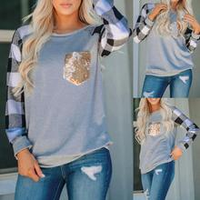 Womens O-Neck Long Sleeves Plaid Print Sequins Splicing Blouse Easy Tops 1pc navy round neck long sleeves blouse