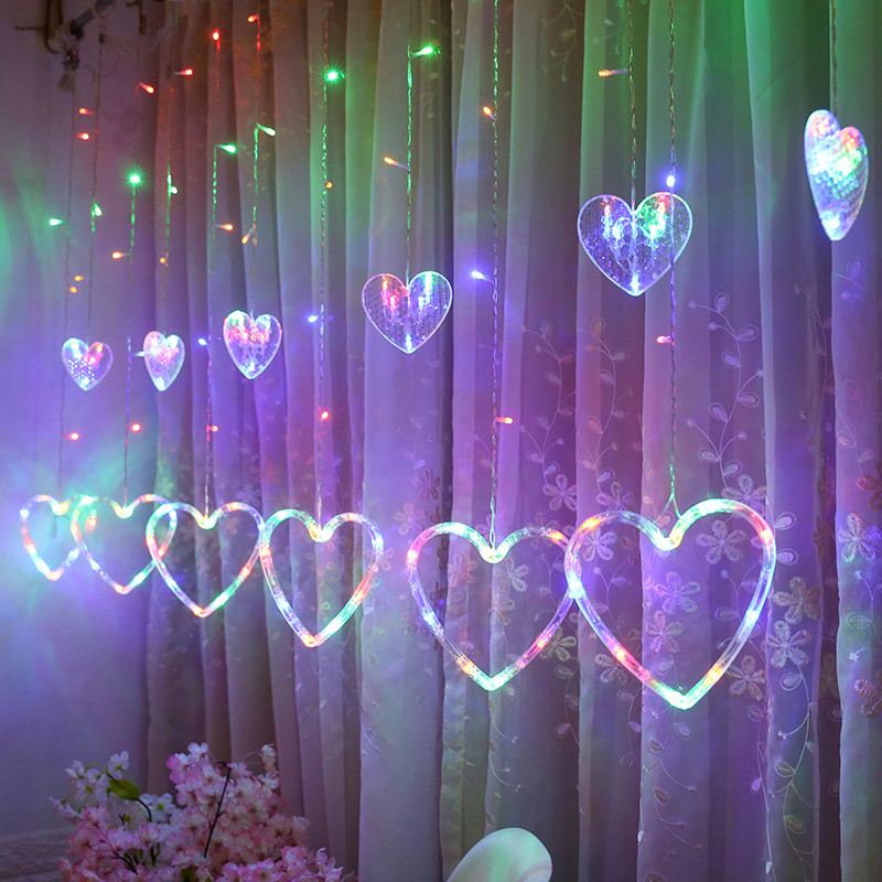 LED Heart-shaped Curtain String Light Window Hanging Curtain Lights String Net Xmas Home Party Decor Romantic Decoraion Lamps
