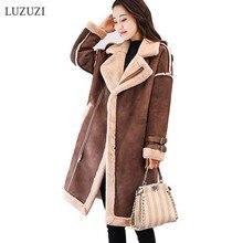 LUZUZI оленья овечья шерсть пальто женское осень зима новые длинные замшевые кожаные куртки бархатные корейские толстые теплые меховые пальто для женщин