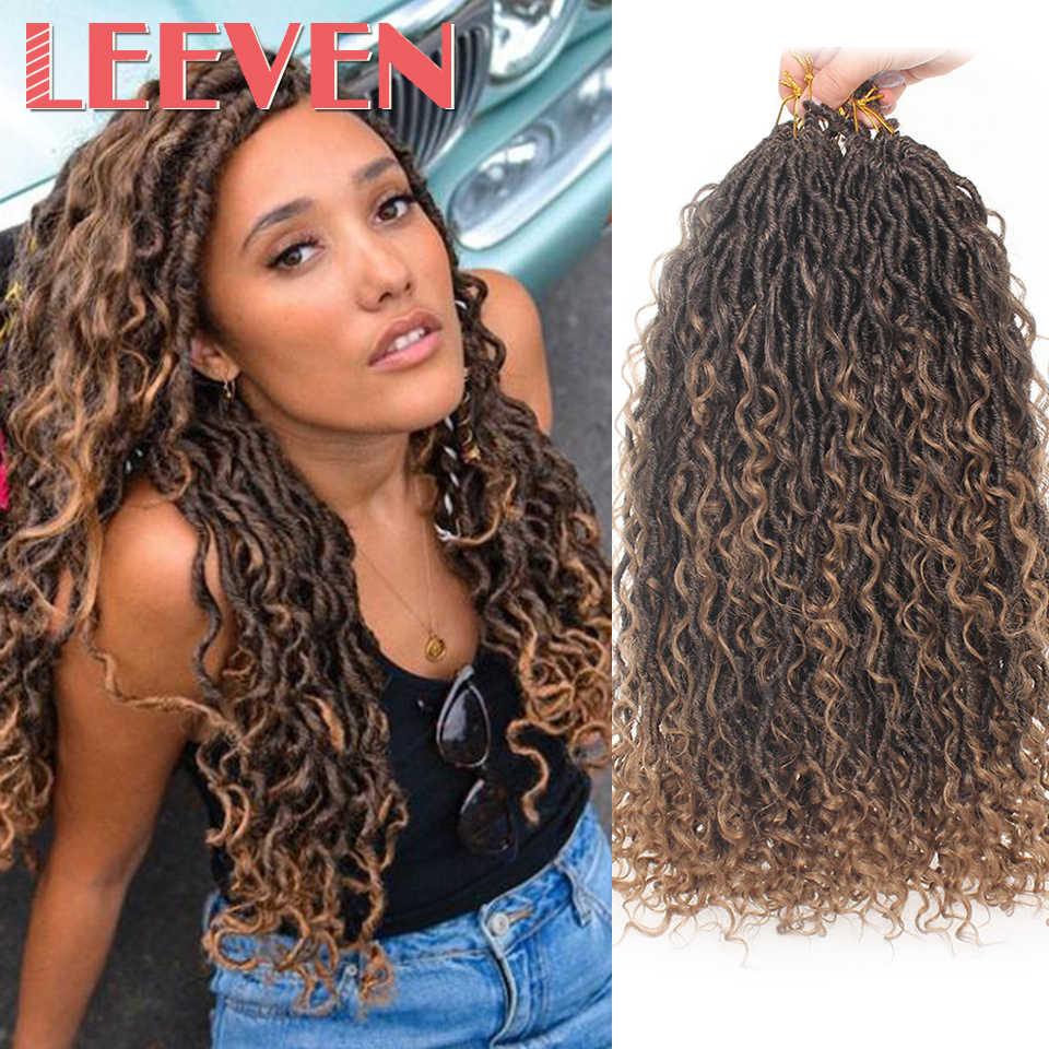 Extensiones de Cabello Leeven, 18 pulgadas, estilo bohemio, desordenadas, con trenzas de pelo de ganchillo, estilo bohemio con rizos, pelo sintético trenzado