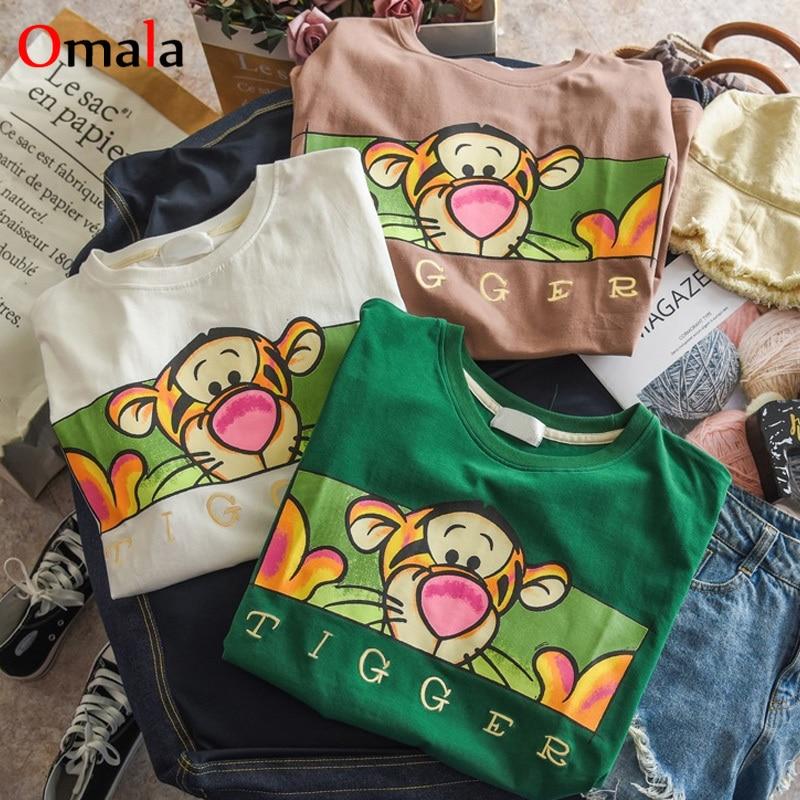 Korean Kawaii Cartoon Print Tee Shirt Short Sleeve T-shirts Women Summer Casual T Shirt Harajuku 90s Girl All-match Tshirt Tops