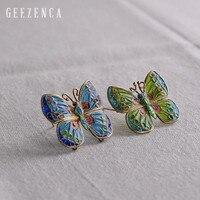 925 Sterling Silver Enamel Cloisonne Craft Butterfly Brooch Fine Jewelry for Women Handmade Original Design Blue Green Brooch
