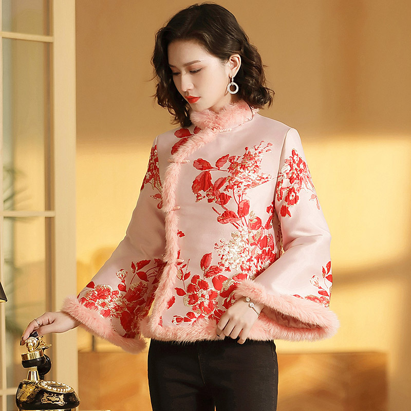 New Year Chinese-style Dress Tang Costume Collar Cotton-padded Jacket Retro Printing Long-sleeved Short Coat Winter Jackets