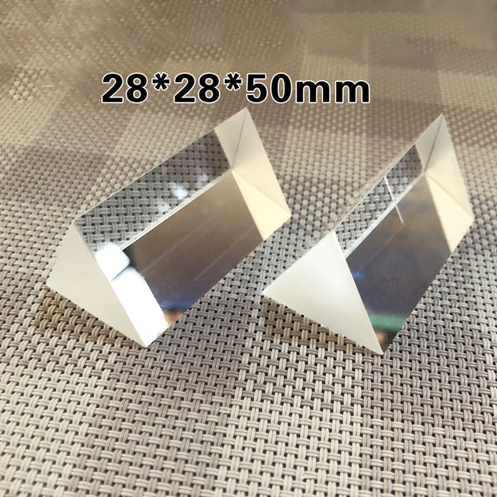 28*28*50mm Optical Triprism Rainbow Photography K9 Glass High Precision Spectroscopy Experimental Physics Teaching