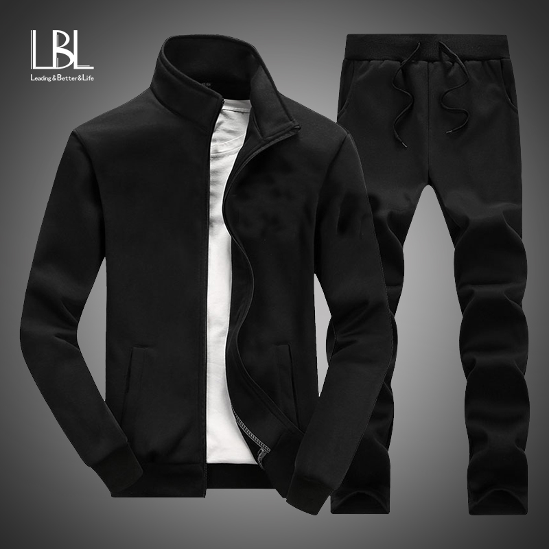 New Casual Tracksuit Men Autumn Zipper Jackets+Pants 2 Pieces Sets Male Slim Fit Sportswear Brand Fashion 2PCS Men's Solid Set