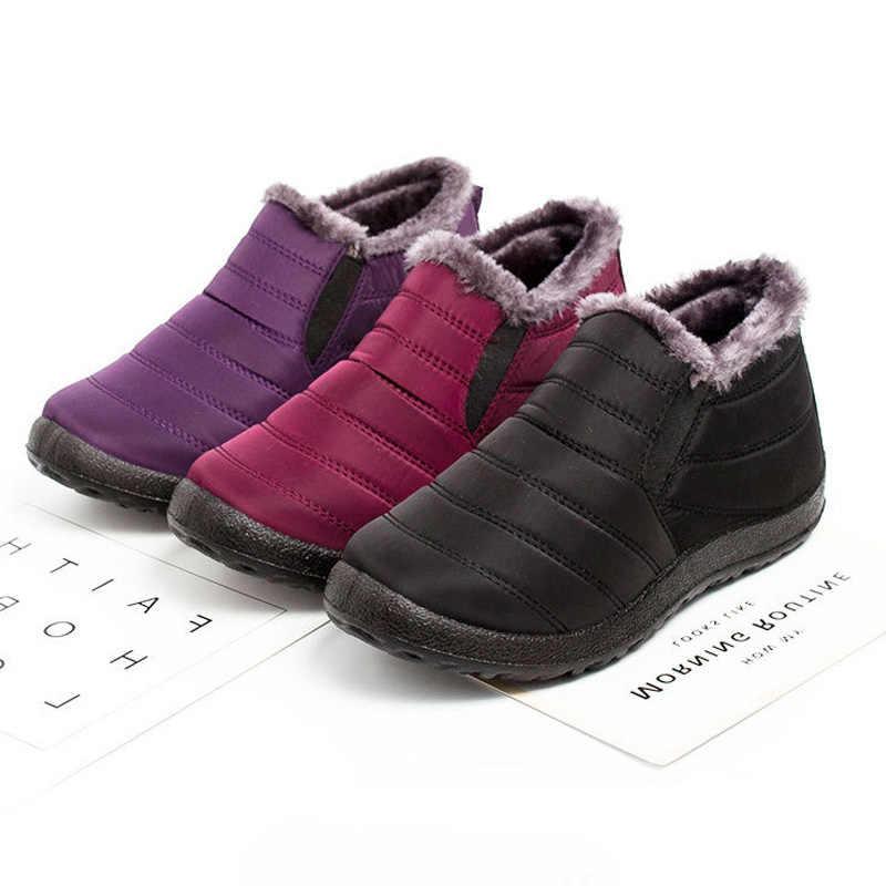 LAKESHI sıcak kış kar botları kadın yarım çizmeler kadınlar için ayakkabı kışlık botlar erkekler çizmeler su geçirmez ayakkabı kadife kısa patik