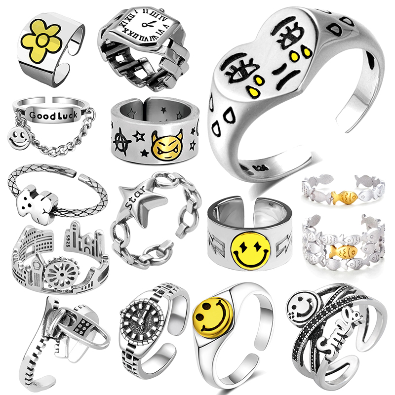 Ring For Women Girls Charm  Smiley Fashion Men Jewelry Vintage Ancient Silver Color Happy Smiling Punk Hip Hop Adjustable Boho