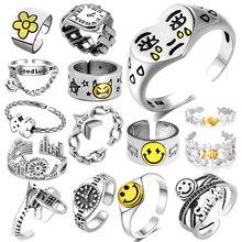 Кольцо для женщин и девочек браслеты с подвесками со смайликом, модные мужские ювелирные украшения, винтажный античный серебряный Цвет сча...