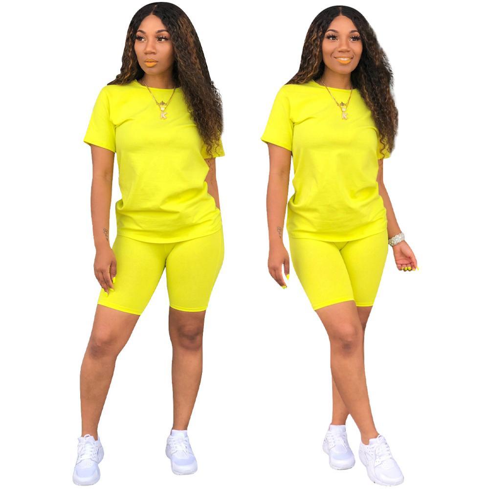2020 New Summer Women's Two Piece Biker Shorts Sets T-shirts Top +Biker Shorts Jogger 2 Piece Set Casual Active Tracksuit Outfit