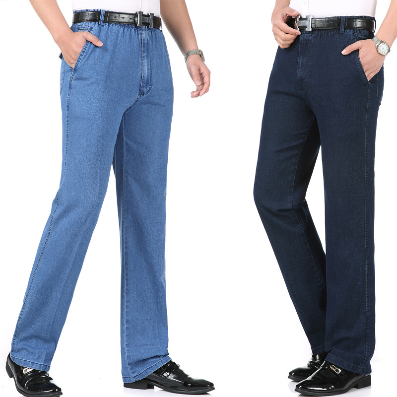 Large Size MEN'S Jeans Trousers Spring Summer Thin Section Middle-aged Men Straight-leg Pants Elastic Waist Men's Trousers