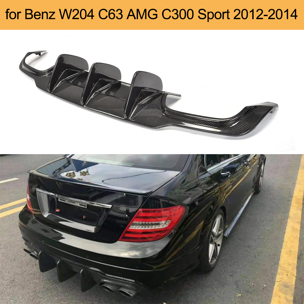 For W204 C63 Carbon Fiber Car Rear Lip Spoiler Diffuser for Mercedes Benz W204 C63 AMG C300 Sport 2012 - 2014 FRP image