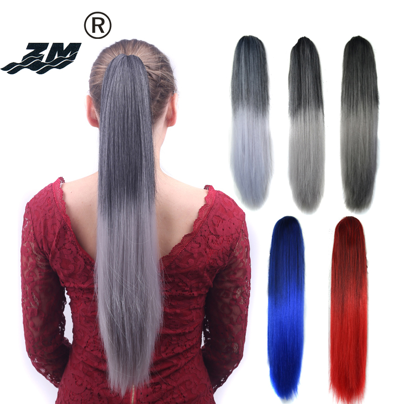 "ZM 22""1b/Blue Red Grey Ombre 2 Tone Synthetic Hair Extensions Straight Ponytail Claw Clip In Pony Tail Hair Piece Heat Resistant"