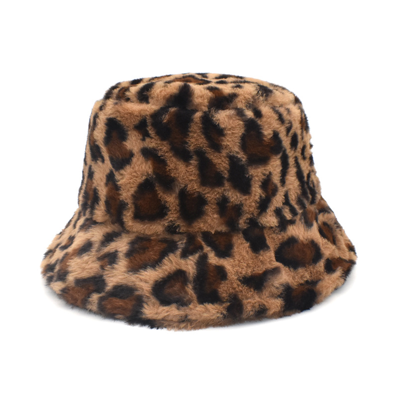 Winter Outdoor Vacation Lady Panama Black Solid Thickened Soft Warm Fishing Cap Faux Fur Rabbit Bucket Hat Women Hairy leopard 11
