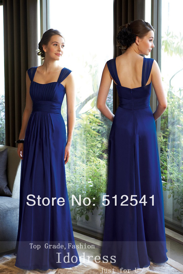 Fashion Blue Mother Of The Bridal Dresses 2018 Sheath Straps Pleats Chiffon Floor Length Women Gowns Bridesmaid Dresses