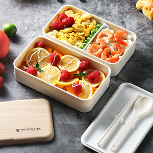 Microwave Wooden Lunch Storage Tiffin Box Double Layer Japanese Style For Kids Lunchbox Bento Boxes Container BPA Free Food
