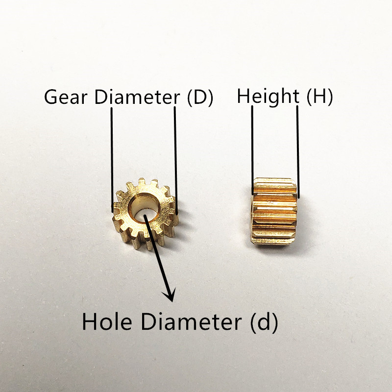 10pcs Metal Gear spindle Copper gear 9 teeth 2mm id 0.5 Modulus DIY motor